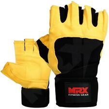 Weight Lifting Gloves Fitness Glove Gym Training Long Wrist Straps Black Yellow