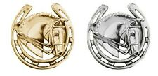 Equetech Horse Head & Shoe Stock Pin - Gold or Silver + Worldwide P&P