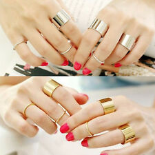 Fashion Punk Tone Stack Wide Smooth Combination Joint Knuckle Midi Ring 6PCS/Set