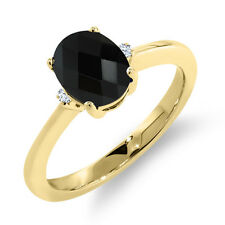 1.16 Ct Oval Checkerboard Black Onyx White Topaz 18K Yellow Gold Ring