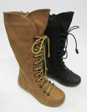 H4075 Girls Knee High Lace Up Boots *Available in 2 Colours*
