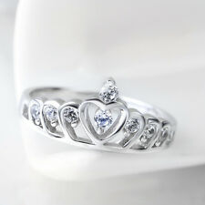 925Sterling Silver Queen Crown Comfort Fit Wedding Bands Promise Ring Size 3-7.5