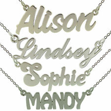 STERLING SILVER PERSONALISED ANY NAME PLATE NECKLACE WITH CHAIN