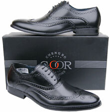 Mens New Black Lace Up Leather Lined Formal Brogues Shoes Free UK Shipping