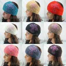 Colored Crysta Cross Headband Knitted Hairband Women Crochet Ear Warmer Headwrap