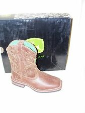 John Deere JD3324 Youth Tan Distressed Square Toe Leather Cowboy Boots NIB