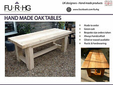 Oak Table HANDMADE,traditional design, built to order, solid wood, garden