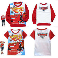 Baby Kids Boys Girls Cartoon Cars Long/Short Sleeves T-Shirt Sweatshirt 2-8yrs