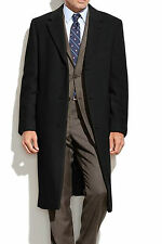 Ralph Lauren Men's Coat Solid Black Columbia Cashmere Wool Overcoat CMB076100