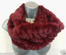 New Super Soft BURGUNDY RED Warm Double Twist Faux Fur Lagenlook Snood Scarf