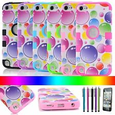 Cute Rainbow Bubbles Hybrid Silicone Case Cover For iPod Touch 4 4th/ 5 5th Gen