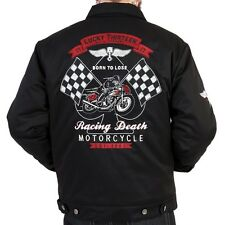 LUCKY 13 RACING DEATH MENS LINED JACKET MOTORCYCLE CHOPPER BIKER PUNK CHINO S-4X