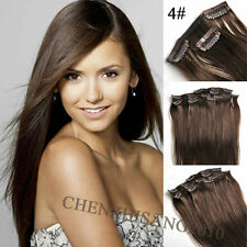 """Straight Full Head 15""""-22"""" 70g-120g Clip in Real Human Hair Extensions"""
