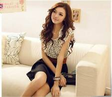 Women Chiffon Elegant Summer Fashion Short Sleeve Dots Polka Waist Mini Dress