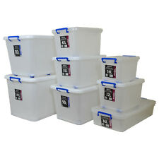 Extra Large Huge Heavy Duty Strong Plastic Storage Box w/ Wheels & Clip Lids NEW