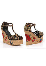 "Dayna 4.5"" Cork Wedge With Tattoo Embroidery"