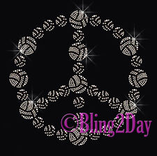 Peace Sign - Volleyball - Iron on Rhinestone Transfer Hot Fix Bling Sports Mom