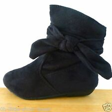 Black Suede Dress Casual Slouchy Flat Walking Booty Baby Toddler Size 9, 10, 11