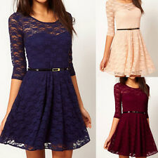 Womens Sexy 3/4 Sleeve Lace Sakter Sundress Mini Dress 5 Size Party Club Evening