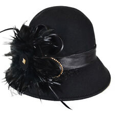 Women Feather Cloche Dress Church Wedding Hat Evening Party Hat Wool Hat
