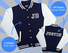 Create Your Own Varsity Jacket Kids - Name & Initials Personalised Design Navy