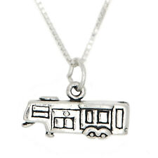 STERLING SILVER HITCHED RV VACATION TRAVEL TRAILER CHARM WITH BOX CHAIN NECKLACE