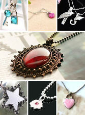 Lovely apple lock key angel wing flower heart pendant necklace multiple choices