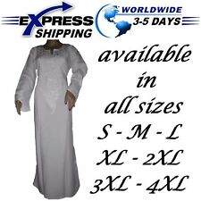 EGYPT ISLAMIC WHITE COTTON Hajj Umrah ABAYA JILBAB DRESS KAFTAN HIJAB ALL SIZES
