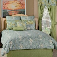 Island Song Surf Blue Green Map Palm Tree Tropical Bedding Comforter Set 5 Sizes