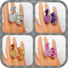Crystal Swan Bling Diva Ring - 4 Colors