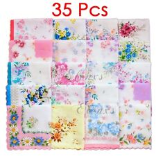 Lot 35Pcs Ladies Child 100% Cotton Flower Vintage Handkerchiefs Quadrate Hankies