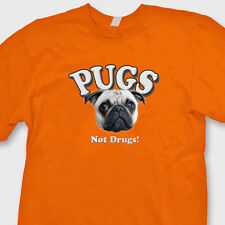 Pugs Not Drugs funny Pets dogs T-shirt Animal Lovers Tee Shirt