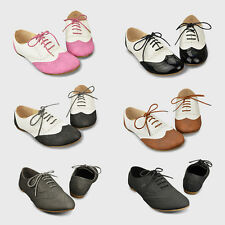 Womens Lace Up Oxfords Flats Heels Shoes Round Teo Sneaker 5.5 6.5 7 7.5 8.5 9.5