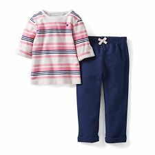 NEW Carter's 2 Piece Neon Pink Striped Top & Navy Pants Set NWT 2T 3T 4T