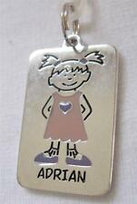 "Girl's Name Tag Charm for Backpack Keyring or Jewelry Making 7/8"" X 1 1/4"""