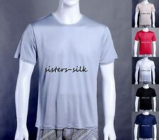 Men's 100% Pure Silk Knitted T-Shirt Casual Short Sleeave Crew Neck Shirts Tee