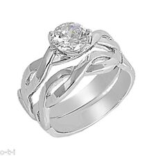 Brilliant Cut Infinity Engagement Wedding Sterling Silver Ring Set Size 3 - 12