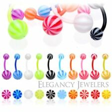 14GA BioFlex Flexible Candy Colored Striped Navel Belly Ring (Multiple Colors)