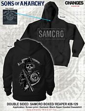 AUTHENTIC SONS OF ANARCHY SOA BOXED LOGO REAPER SAMCRO REAPER BIKER HOODIE S-3XL