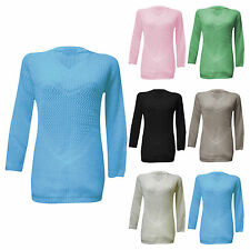 NEW LADIES WOMEN HEART DETAIL MEDIUM CROCHET KNIT LONGSLEEVE JUMPER TOP ONE SIZE