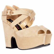 LADIES WOMENS PEEP TOE DEMI WEDGES BLOCK HEELS SANDALS SHOES RED NUDE BLACK SIZE