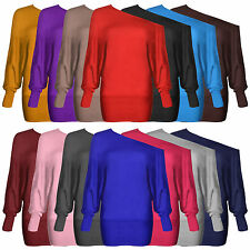 NEW LADIES WOMEN PLUS SIZE OFF SHOULDER BAGGY BATWING LONG SLEEVE SLOUCH BIG TOP