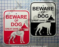 Beware of Dog - Great Dane 9 x 12 Predrilled Aluminum Window or Fence Sign