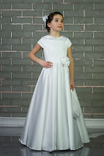 New Satin Flowergirl 1st Holly Communion Bridesmaid Wedding Dress 2-13yrs (K-04)