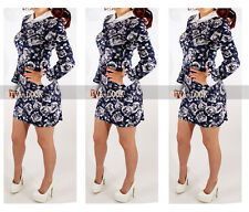 New Womens Ladies Shift Party Floral  Collared Spring Long Sleeve Mini Dress