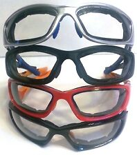 Motorcycle Sunglasses Padded Clear Lenses Goggles FREE drawstring pouch included