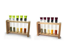 Test Tube Spice Container Holder 5 Set Wooden Rack Kitchen Food Culinary Gift