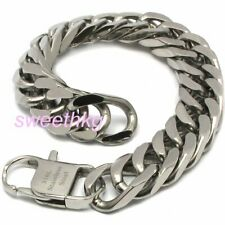 HAND POLISHED 316L Stainless Steel 15mm 4 Faceted Chunky Cuban Chain Necklace