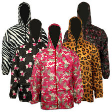 Ladies Womens Printed Hooded Kagool Kagoul Cagoule Rain Jacket Raincoats Funky
