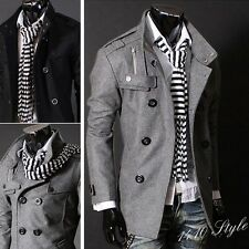 Hot ! Korean Stylish Mens Slim Fit Double Breasted Strap Trench Coat Jacket zl01